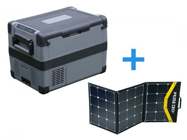 Prime Tech ® Kompressor-Kühlbox 60 Liter bis -20°C, 12/24 Volt 120WP Solar-Bundle