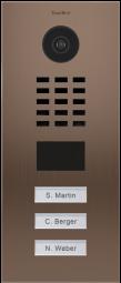 DoorBird IP Video Türstation D2103BV, Gebürsteter Edelstahl, Bronze-Finish, Unterputzmontage, 3 Ruft
