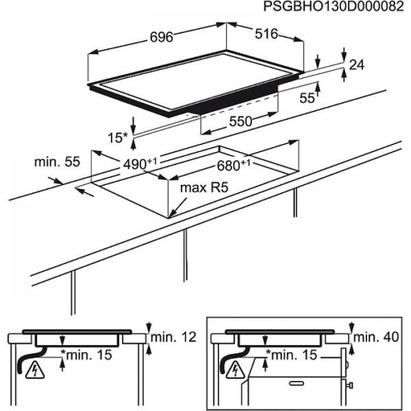 aeg hkm76400xb 70 cm 4 fach induktion maxisense plus induktionskochfeld bridge funktion stop. Black Bedroom Furniture Sets. Home Design Ideas