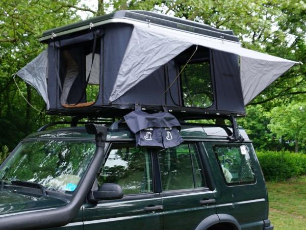 Prime Tech ® Hartschalen-Autodachzelt Nevada 140cm ABS schwarz / grau automatik