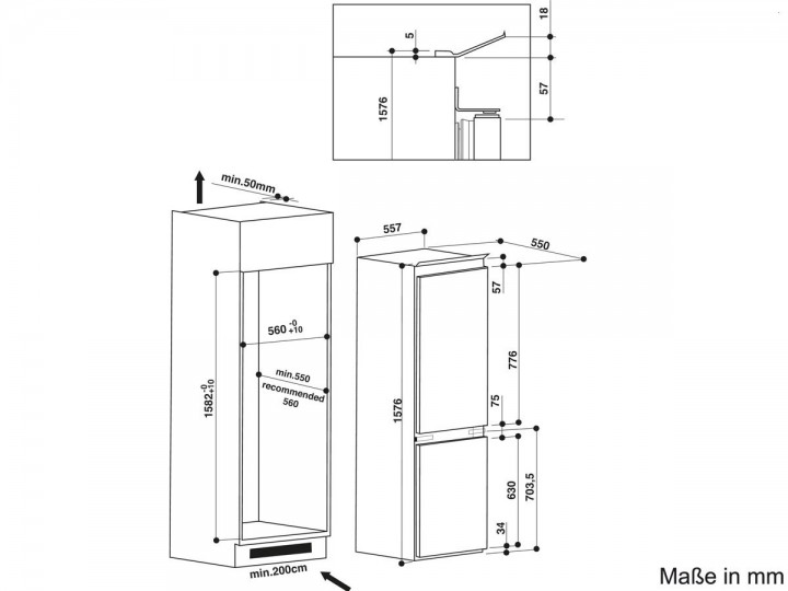 bauknecht kgie 2164 a k hl gefrierkombination nische 158 festt r nischenma 1522 1584 mm. Black Bedroom Furniture Sets. Home Design Ideas