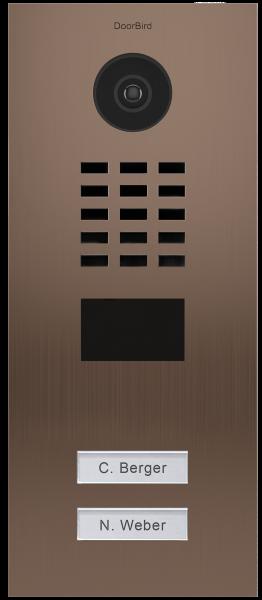 DoorBird IP Video Türstation D2102BV, Gebürsteter Edelstahl, Bronze-Finish, Unterputzmontage, 2 Ruft