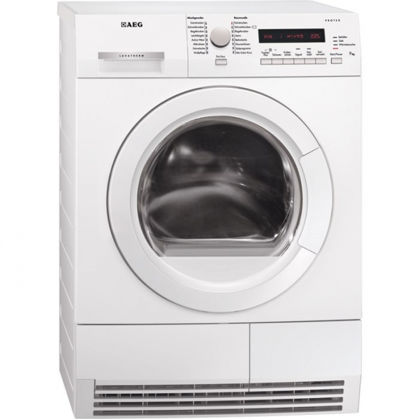 AEG T72275AC 7 kg, Drehwähler und Tasten silber, großes LC-Display, Wolle-Trockenprogramm, Transpare