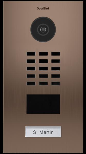 DoorBird IP Video Türstation D2101BV, Gebürsteter Edelstahl, Bronze-Finish, Unterputzmontage, 1 Ruft